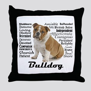 Bulldog Traits Throw Pillow