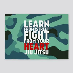 Learn Jiu Jitsu Red - Green Camouflage 5'x7'Area R