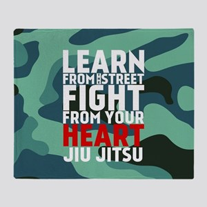 Learn Jiu Jitsu Red - Green Camouflage Throw Blank