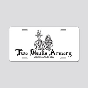 Two Skulls Logo Aluminum License Plate
