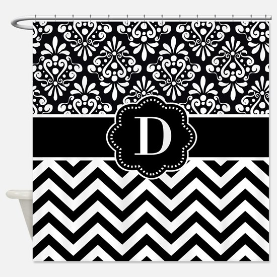 Black White Damask Chevron Monogram Shower Curtain