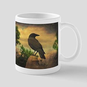Dark Retro Crow Mugs