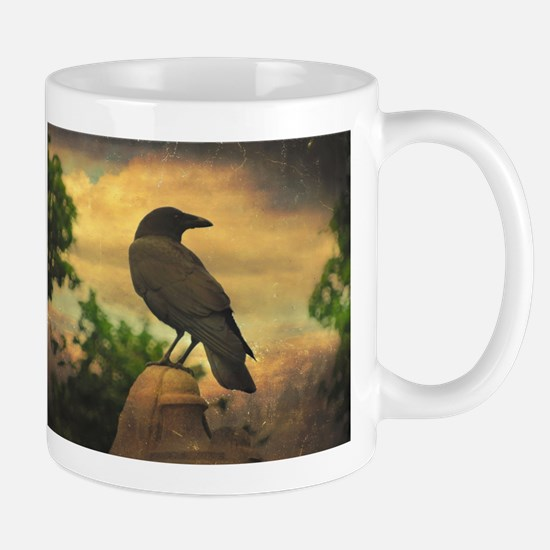 Dark Retro Crow Mugs