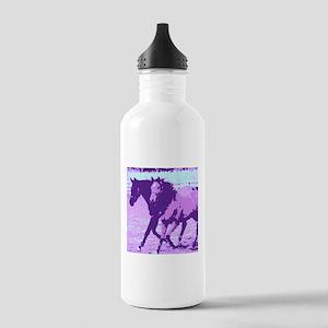 Purple Pop Art Horses Water Bottle