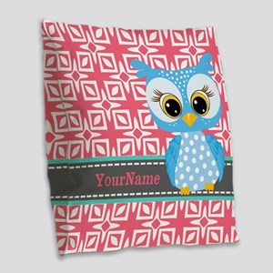 Beautiful Teal Owl Personalize Burlap Throw Pillow