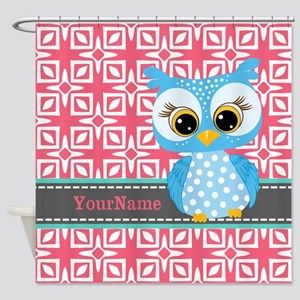 Beautiful Teal Owl Personalized Shower Curtain