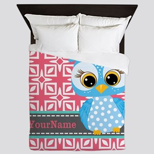 Beautiful Teal Owl Personalized Queen Duvet