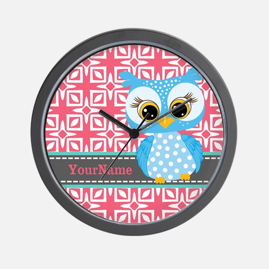 Beautiful Teal Owl Personalized Wall Clock