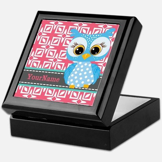 Beautiful Teal Owl Personalized Keepsake Box