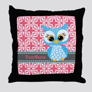 Beautiful Teal Owl Personalized Throw Pillow