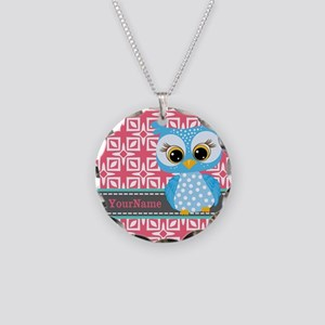 Beautiful Teal Owl Personali Necklace Circle Charm