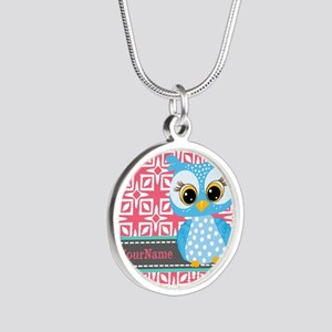 Beautiful Teal Owl Personali Silver Round Necklace