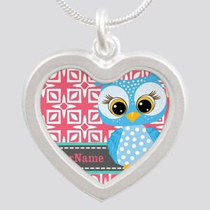 Beautiful Teal Owl Personali Silver Heart Necklace