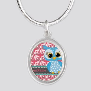 Beautiful Teal Owl Personaliz Silver Oval Necklace