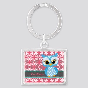 Beautiful Teal Owl Personalized Landscape Keychain