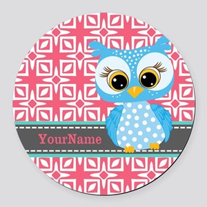 Beautiful Teal Owl Personalized Round Car Magnet