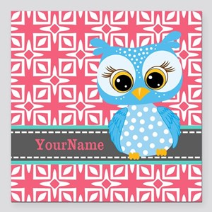 """Beautiful Teal Owl Perso Square Car Magnet 3"""" x 3"""""""
