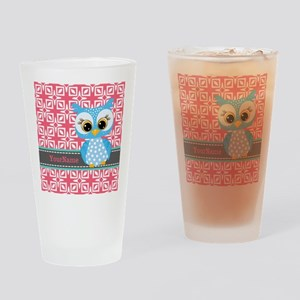 Beautiful Teal Owl Personalized Drinking Glass