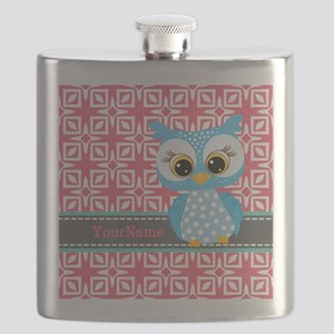 Beautiful Teal Owl Personalized Flask