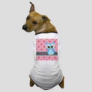 Beautiful Teal Owl Personalized Dog T-Shirt
