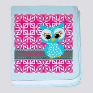 Beautiful Teal Owl Personalized baby blanket