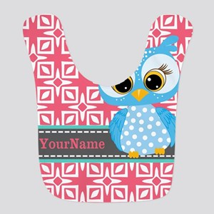 Beautiful Teal Owl Personalized Bib