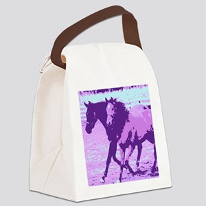 Purple Pop Art Horses Canvas Lunch Bag
