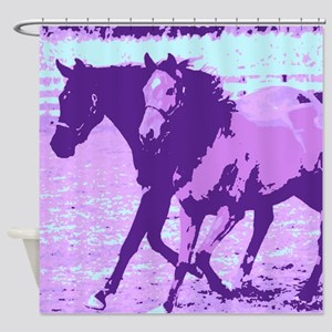 Purple Pop Art Horses Shower Curtain