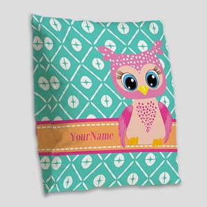Cute Pink Little Owl Personali Burlap Throw Pillow