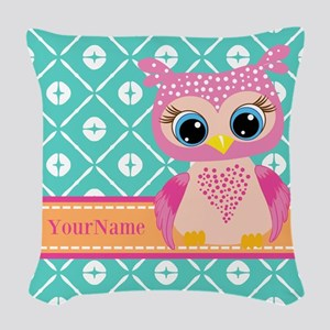 Cute Pink Little Owl Personali Woven Throw Pillow
