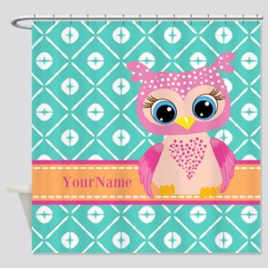 Cute Pink Little Owl Personalized Shower Curtain