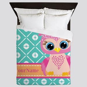 Cute Pink Little Owl Personalized Queen Duvet