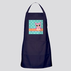 Cute Pink Little Owl Personalized Apron (dark)