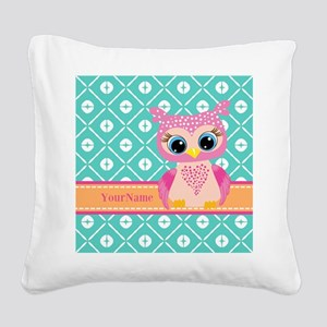 Cute Pink Little Owl Personal Square Canvas Pillow