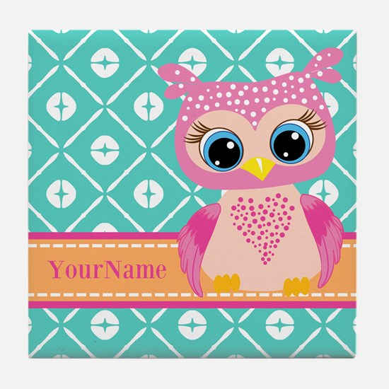 Cute Pink Little Owl Personalized Tile Coaster