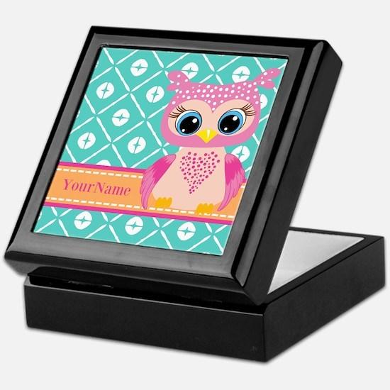 Cute Pink Little Owl Personalized Keepsake Box