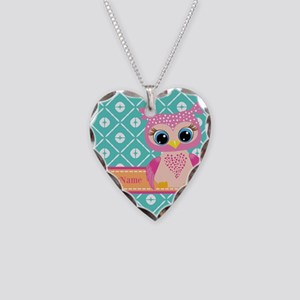 Cute Pink Little Owl Personal Necklace Heart Charm