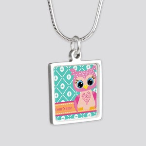 Cute Pink Little Owl Perso Silver Square Necklace