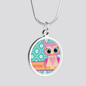 Cute Pink Little Owl Persona Silver Round Necklace
