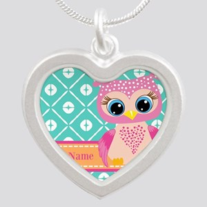 Cute Pink Little Owl Persona Silver Heart Necklace