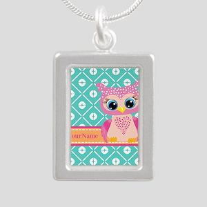 Cute Pink Little Owl Per Silver Portrait Necklace