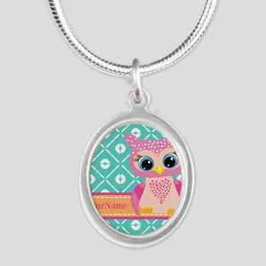 Cute Pink Little Owl Personal Silver Oval Necklace