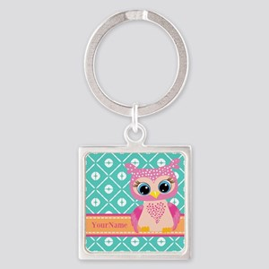 Cute Pink Little Owl Personalized Square Keychain
