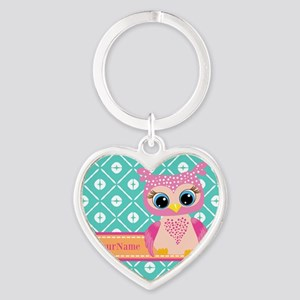 Cute Pink Little Owl Personalized Heart Keychain