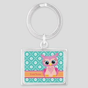 Cute Pink Little Owl Personaliz Landscape Keychain