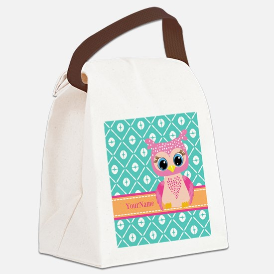 Cute Pink Little Owl Personalized Canvas Lunch Bag
