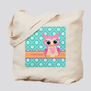 Cute Pink Little Owl Personalized Tote Bag
