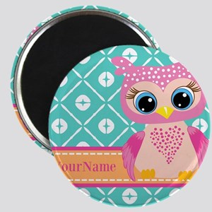 Cute Pink Little Owl Personalized Magnet