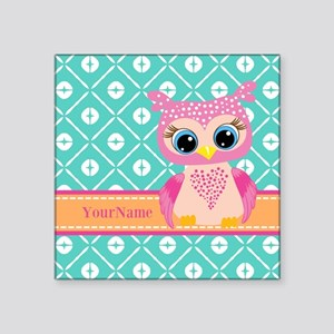 """Cute Pink Little Owl Person Square Sticker 3"""" x 3"""""""