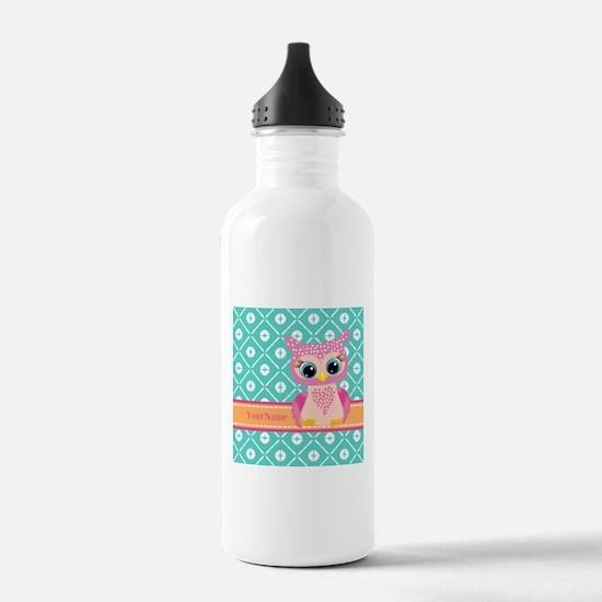 Cute Pink Little Owl P Sports Water Bottle